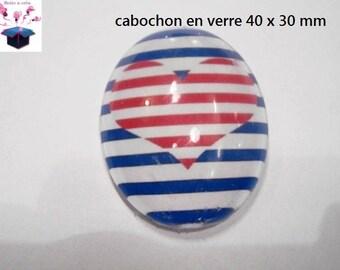 1 cabochon glass 40x30mm marine theme