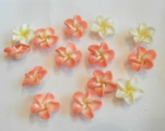 Flower polymer as shown drilled beads 14 size 2 cm