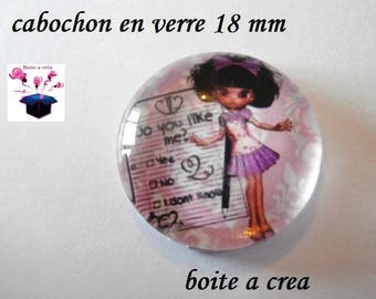 1 cabochon clear domed 18mm love series