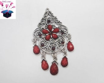 1 silver pendant with Rhinestone red size 7 cm x 4 cm