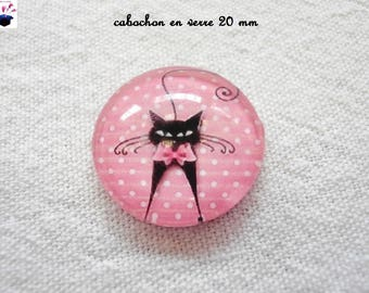 1 cabochon clear 20mm gingham cat theme