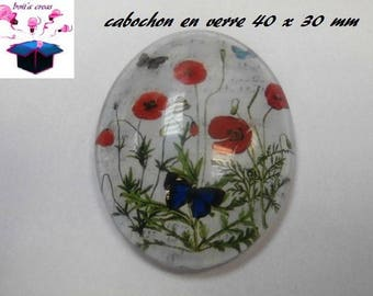 1 40x30mm poppy themed glass cabochon