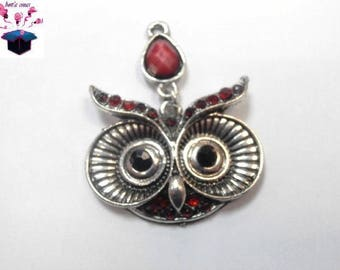 1 silver pendant with Rhinestone red size 4 cm x 3 cm