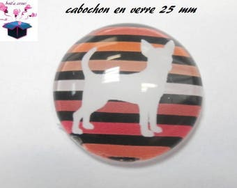 1 cabochon clear 25 mm round theme chihuahua dog