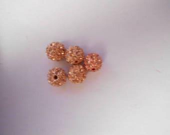 5 beads resin with Rhinestones 10 mm beige
