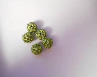 5 beads resin with 10 mm Green rhinestones