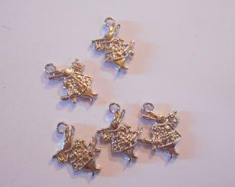 5 Silver Bunny charm size 2 x 1.5 cm