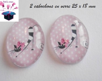 2 cabochons glass 25mm x 18mm theme cat Meow