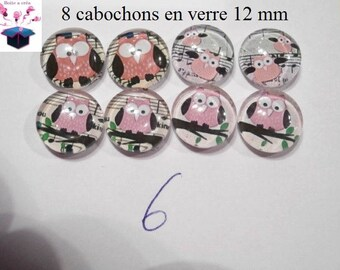 8 glass cabochons 12 mm for loop theme OWL / OWL number 5
