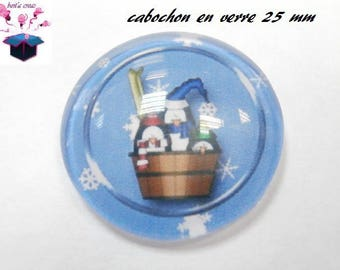 1 cabochon clear 25 mm Christmas theme