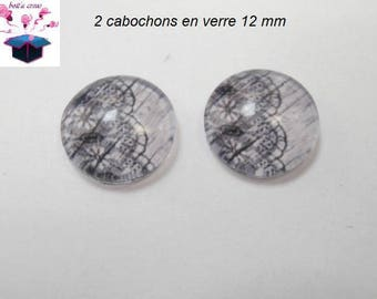 2 glass cabochons 12 mm for ring or loop lace theme