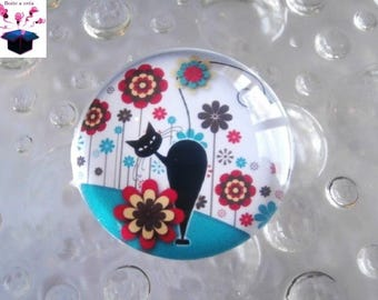 1 cabochon clear 30 mm for pendant or hanging cat themed bag