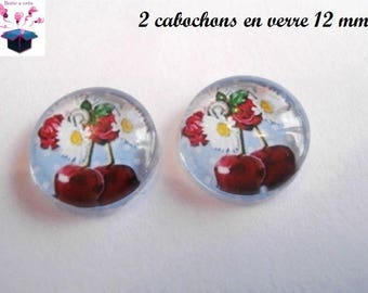 2 glass cabochons 12 mm for loop or ring cherry lace theme