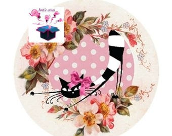 1 cabochon clear 40 mm round cat Meow theme