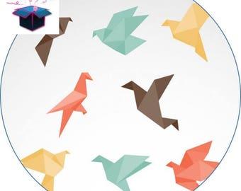 1 glass cabochon 16 mm theme paper birds