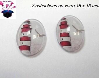 2 glass cabochons 18mm x 13mm marine theme