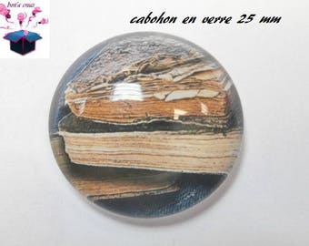 1 cabochon clear 25 mm round book theme