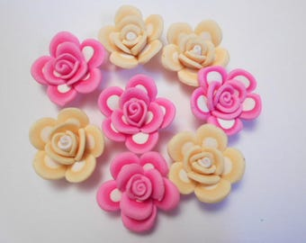 Flower polymer as pictured 8 beads drilled size 2.5 cm