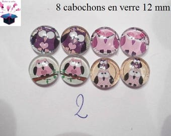 8 glass cabochons 12 mm for loop theme OWL / OWL number 2
