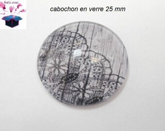 1 cabochon clear 25 mm round lace theme