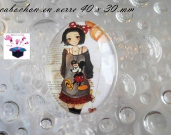1 40x30mm manga themed glass cabochon