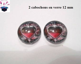 2 glass cabochons 12 mm for loop or ring theme heart Valentine's day
