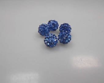 5 beads resin with 10 mm light blue rhinestones