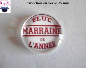 1 cabochon clear 25 mm round chosen theme