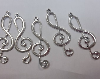 set of 5 Silver size 6x2.2cm charms