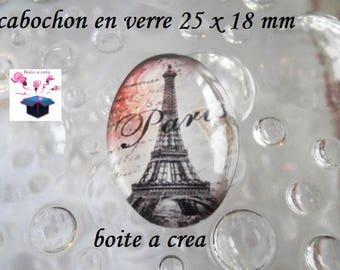 1 cabochon glass 25mm x 18mm eiffel tower vintage theme