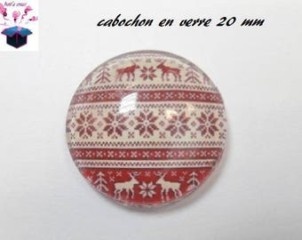1 cabochon clear 20mm Christmas theme