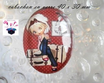 1 cabochon 40x30mm miss vacation theme glass