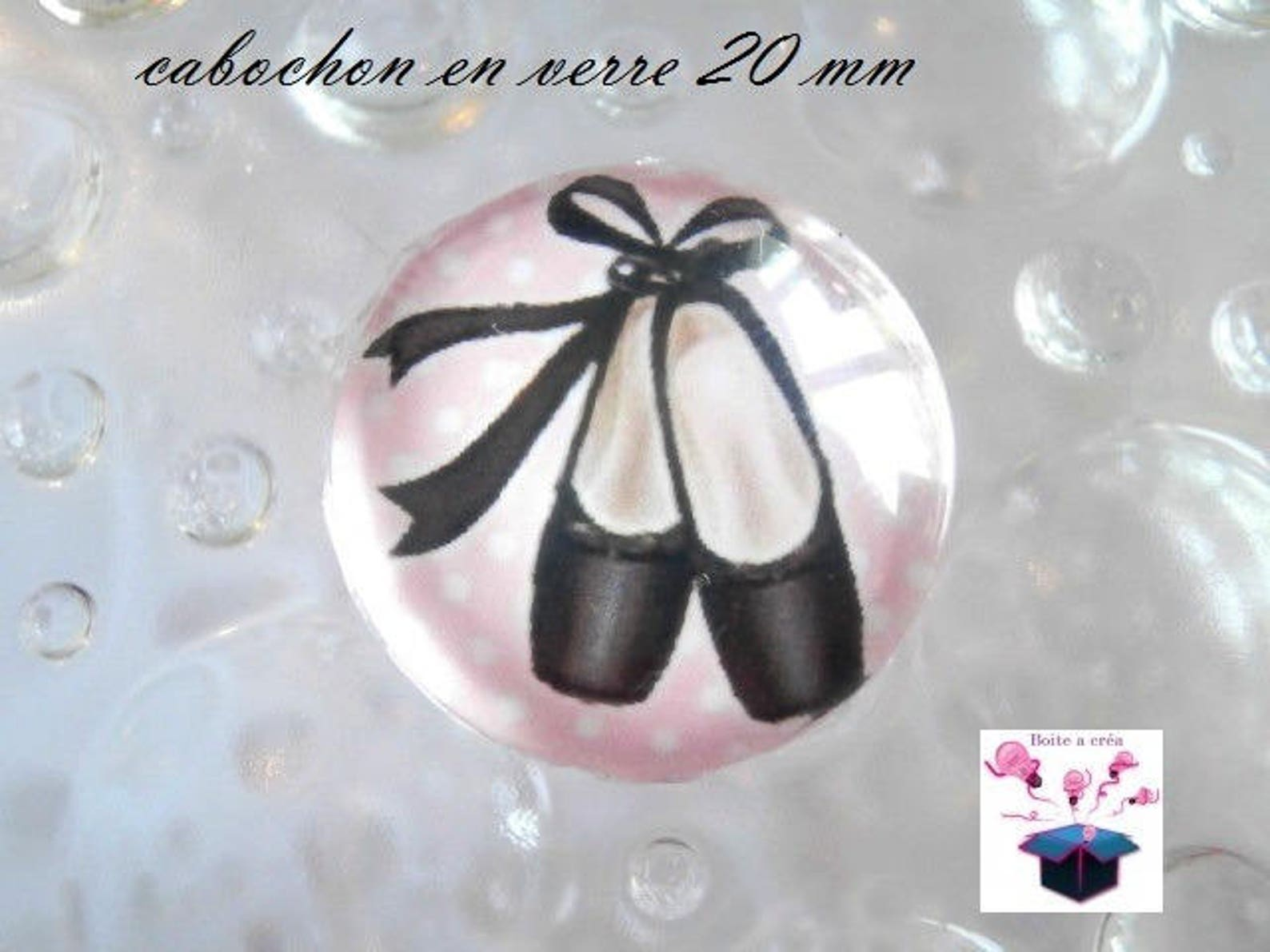 1 cabochon clear 20mm ballet shoe theme