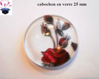 1 cabochon clear 25 mm round pink theme