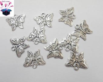10 antique silver charms Butterfly size 2.3 x 1.9