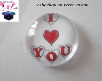 1 cabochon clear 20mm love theme