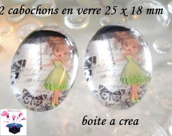 2 cabochons glass 25mm x 18mm theme miss miss Green Pink