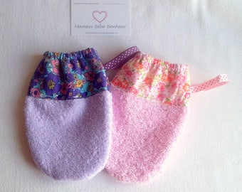 Washcloths girl pink and mauve, liberty Terry elastic size 4/6 years