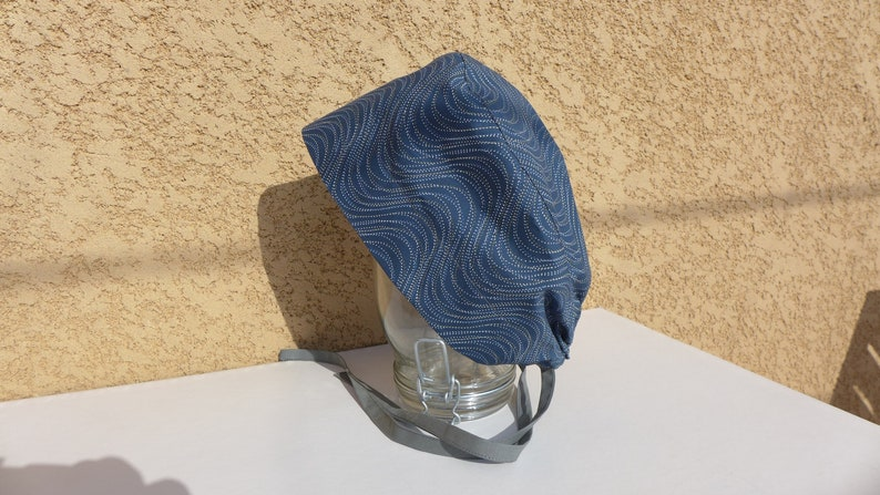 abstract pattern cotton fabric block hat with dotted waves Surgical calot