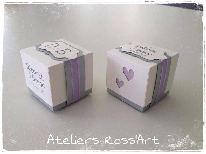 a06c720855 10 boites à dragées cube bicolore 5cm / thème coeurs / mariage   Etsy