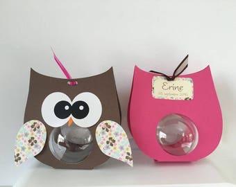 6 boxes baptism theme OWL Brown wings - fuchsia