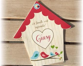 10 invitations christening or birth - themed birdhouse bird - OWL invitation