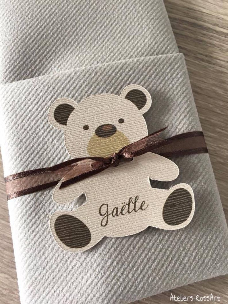 10 Round Tape Deco Table Bapeme Towel Towel Cards Bear Cub Birthday Boy Personalized Baptism