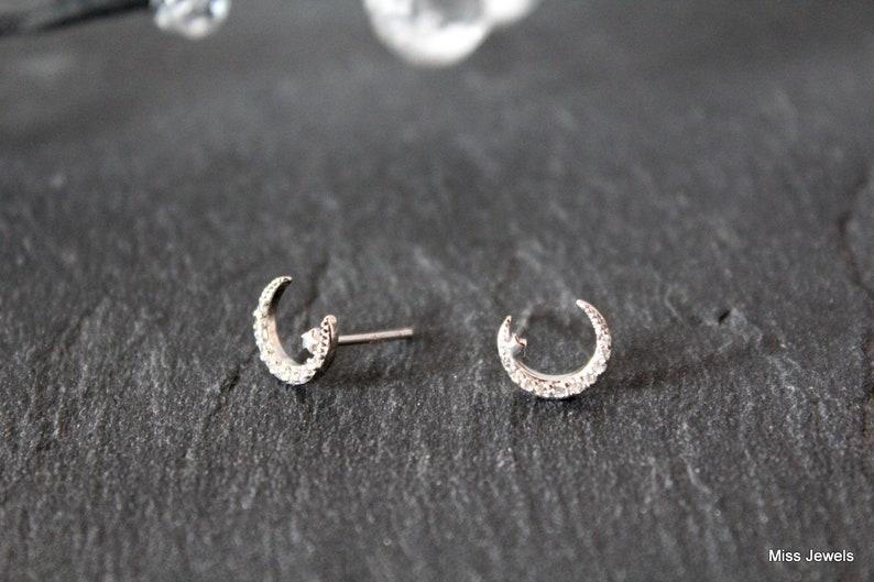 earrings minimalist buckle earrings Moon buckle Silver Moon and star earrings silver ear climber