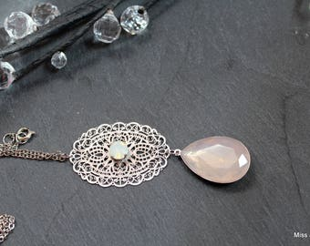 Lariat Necklace long stainless steel chain, Teardrop pink Opal