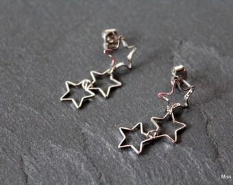 Silver Stars cascade earrings