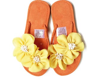 6beb62e1db22d5 Chic-Mild Handmade Classic Orange Flip Flops With Fantasy Yellow Flowers  Sandals