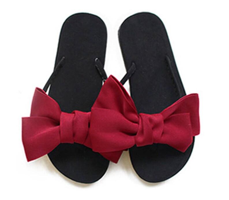 23ebed35b Chic-Mild Handmade Big Fashion Yellow Bows Flip Flops Sandals