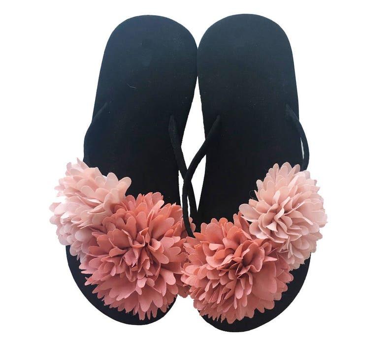 7dfa10179 Chic-Mild Handmade Red Big Fashion Flower Flip Flops Sandals