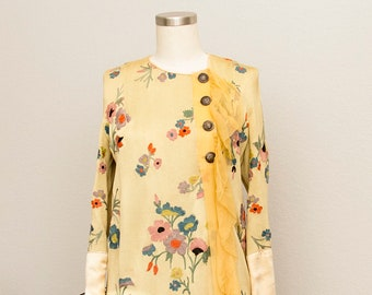 1920's Silk Knit Embroidered Dress